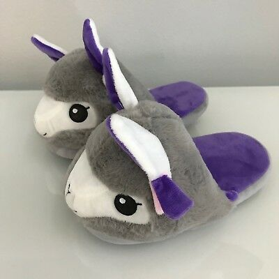 Llama Alpaca Plush Slippers Womens Juniors Grey (Small) 5-6