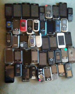 "Lot Of 45 Cell Phones ""For Parts"" UNTESTED (lot c)"