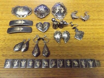 Vintage Antique Siam Nielloware Sterling 925 Silver Jewelry Lot 118 Grams