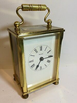 Brass Mechanical Cased Carriage Clock by Dominion