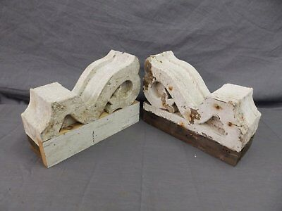 Antique Pair Wood Small Corbel Victorian Architectural Shabby Vtg Chic 506-17P