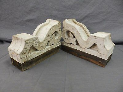 Antique Pair Wood Small Corbel Victorian Architectural Shabby Vtg Chic 508-17P