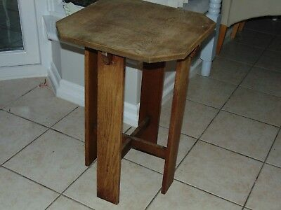 """Arts And Crafts Oak Side Table 26"""" High  18"""" X 18"""" The Top"""