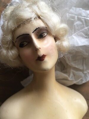 Antique German Art Deco Half Doll Lady Wax Over Composition W/ Bisque Arms