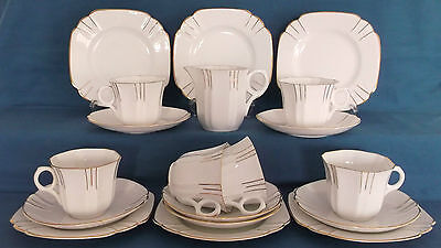 Vintage Melba Art Deco White Gold Bone China 19 Piece Tea Set Wedding Tea Party