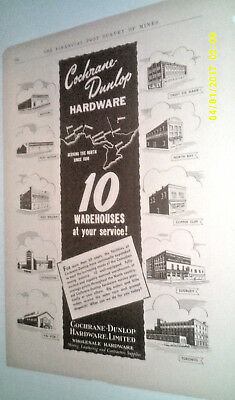 1952 Cochrane-Dunlop Hardware-10 Warehouses At Your Service Canada Original Ad