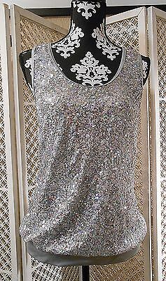 Weissman Dance Silver Sparkle Tank top with T Back Large Adult