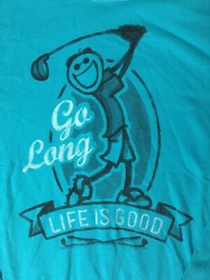 431a6e45a2b Life is Good Go Long Jake Golf Long Sleeve Crusher T Shirt Blue Size Small  NWT