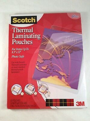 """Scotch Thermal Laminating Pouches 8.5""""x11"""" Photo Safe 50 Pouches Gloss 3M Clear"""