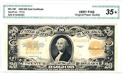 1922 $20 Gold Certificate, Fr. 1187, Very Fine (VF-35) Condition
