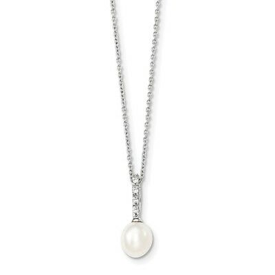 Sterling Silver 17in 7-8mm White FW Cultured Pearl CZ Chain Slide Necklace