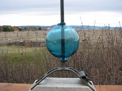 Teal Blue 4.5 Inch Round Lightning Rod Ball