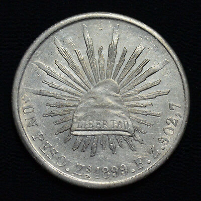 1899 Zs FZ MEXICO PESO, CAP & RAYS, KM409.3, ABOUT UNCIRCULATED DETAILS