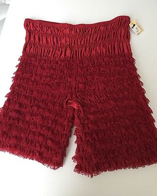 Sam's XXL Red Layered Lace Mid-Thigh Bloomers Dance Pettipants Sissipants NWT!