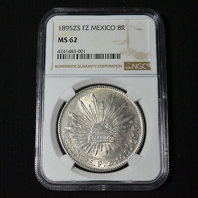 1895Zs Fz Mexico 8 Reales, Zacatecas, Km377.13, Brilliant Uncirculated, Ngc Ms62