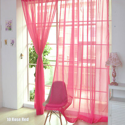 Floral Voile Curtain Window Curtain Panel Sheer Valances Scarf Rose red SS 01