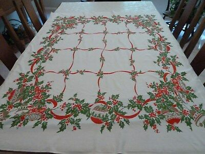 VINTAGE CHRISTMAS RED RIBBON HOLLY BERRY ORNAMENTS COTTON TABLECLOTH 43 x 51