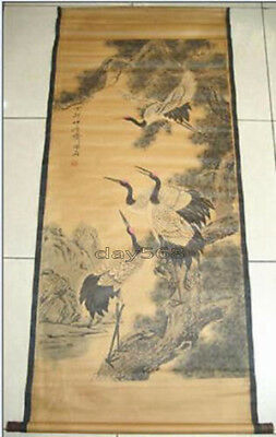 Chinese painting scroll Crane and Pine By ----- 松鹤图