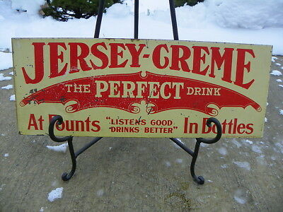 Jersey Cream Soda Pop Flange Sign Early 1900's