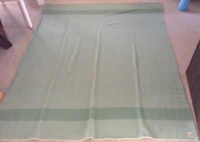 Rare-All Wool (BRAND)-4 Point Green Apple-Blanket-Made in England-V.G. Cond