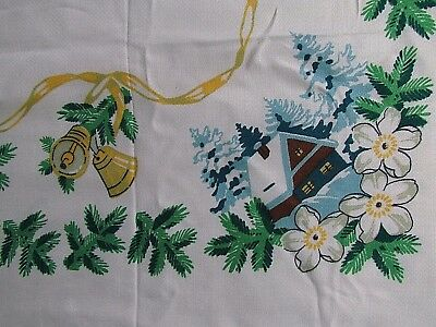 Vintage Christmas Tablecloth Snow Cabin Bells Pine Garland Blue Gold 61X50