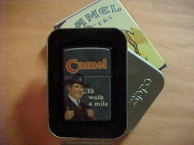 "Attractive and Graphic 1994 Joe Camel Zippo Lighter ""I'd Walk a Mile"" - MIB"
