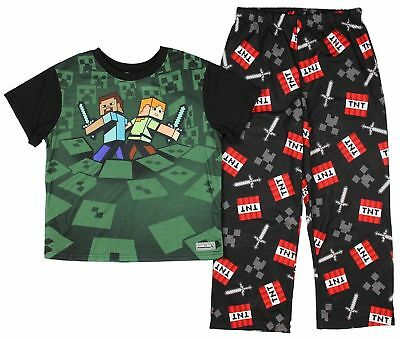 Minecraft Boy's 2 Piece Pajama Set Alex and Steve Short Sleeve Size 4/5