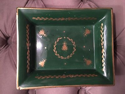 Vintage HERMES Porcelain Limoges Ashtray Gilt Bees