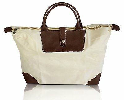 Large Size Canvas Zippered Folding Tote Bag with Snap Strap, Roomy Cargo Space E