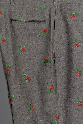 Size 44/32.5 Mens Holly Berry Embroidered Gray Wool Vintage Christmas Pants Xxl