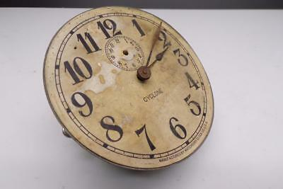 """Early Waterbury """"Cyclone""""  Brass Alarm Clock 4-1/2"""" Dial and Movement E1077a"""
