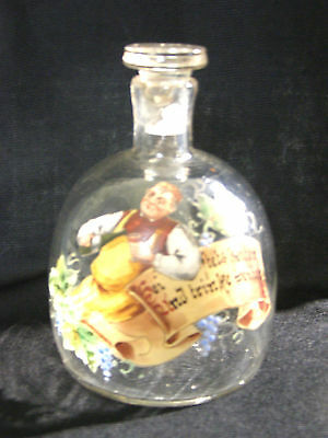Vintage Blown Glass German Motto Decanter - Enamel - Man Pouring Wine