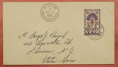 1957 Madagascar Nossi Be 20Fr Solo Use Cover To Usa