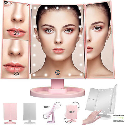 22 LED Light Makeup Mirror 1X 2X 3X Magnifying Tri-Fold Desk Mirror Touch Button