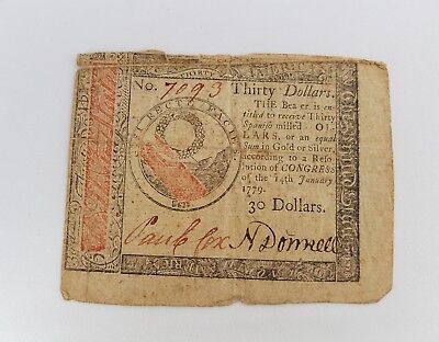 $30 January 4th 1779 Colonial Continental Currency Nice condition CC-93