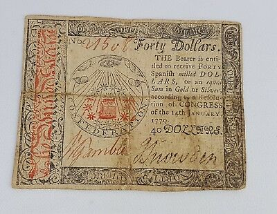 $40 January 14, 1779 Colonial Continental Currency CC-95  FINE Condition