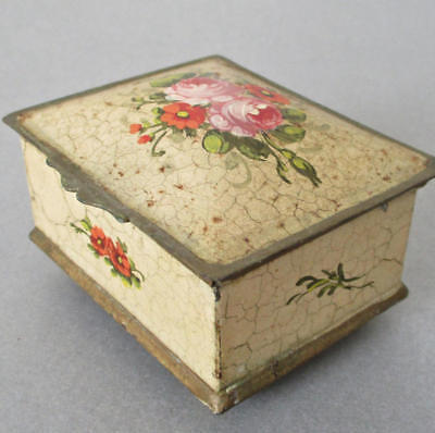 "Vintage Petite 3"" HP French Toleware Hinged DOME Top Trinket Box ROSES + Flowers"