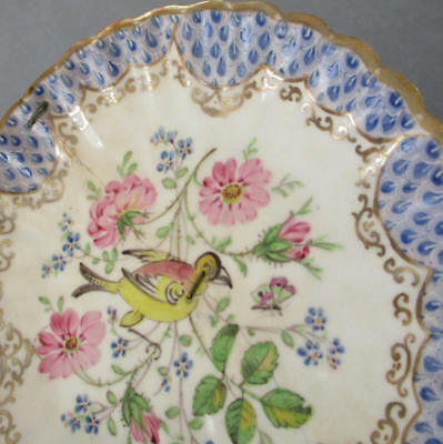 "Antique 19thC MEISSEN Porcelain MAJOLICA 5"" Dish BIRD Flowers PALISSY ~ AS IS"
