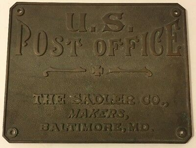 Early Bronze U. S. Post Office Sign Plaque The Sadler Co. Makers Baltimore MD