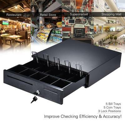 Heavy Duty Electronic Cash Drawer Box Case Storage 5Bill 5 Coin Trays Black V7F7