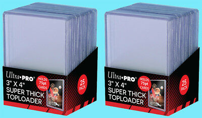 50 Ultra Pro 3x4 75PT THICK TOPLOADERS NEW Rigid Clear Standard Size Sports Card