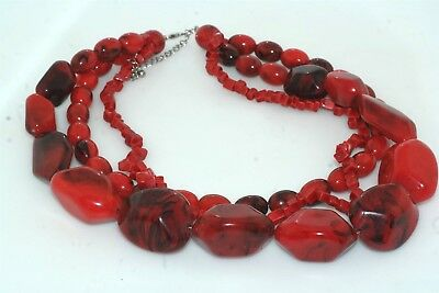 Vintage Triple Strand Faux Red Coral Large Chunky Bead Necklace