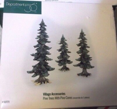 Dept. 56 Village Accessories Winter Pine Trees with Pine Cones Set of 3