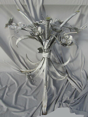 Vintage Silver & White Painted Toleware Butterfly Flowers Table Stand