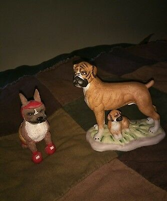 BOXER AND PUPPY DOG FIGURINE BISQUE PORCELAIN + Avery creations boxer