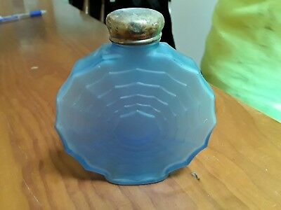 Antique frosted glass Blue Talc Bottle GC dec estate