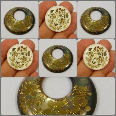 MOP & Abalone Shell Round Drilled Gold Painting Gemstones KBD23-38