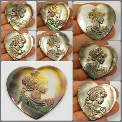 100% Natural Drilled Heart Shape Abalone Shell Lady Carving KBD49-58