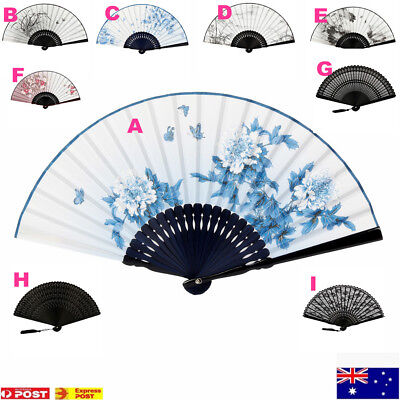 Chinese Folding Hand Bamboo Fan Silk Vintage Refinement Style Retro Rockabilly
