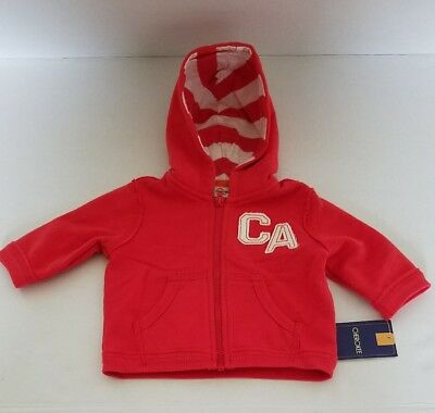 NEW CHEROKEE Size NB Newborn Boy Red White CA Zipped Hoodie Hooded Jacket